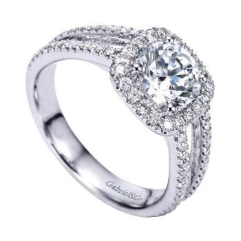 14K White Gold 1.55cttw Split-Shank French Pave Set Round Diamond  Engagement Ring with